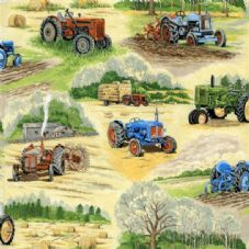 Nutex In the country 102 - vintage tractors Fabric
